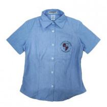 Camisa Social Tricoline Mc Fem Azul