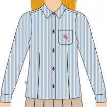 Camisa Social Tricoline Ml Fem Azul
