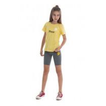 Camiseta Baby Look Amarela Algodao
